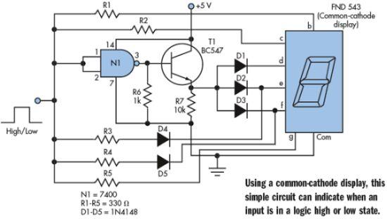 一个简单的逻辑信号指示电路