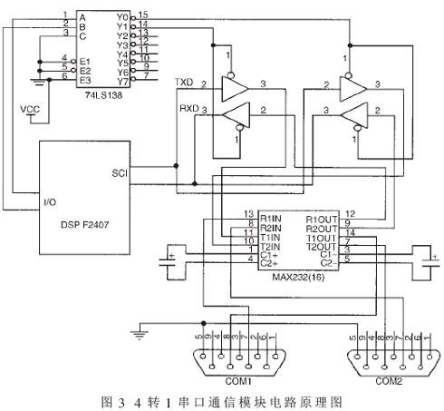 三态输出的四总线缓冲门74lsl25和电平转换器max232等组成,其电路原理