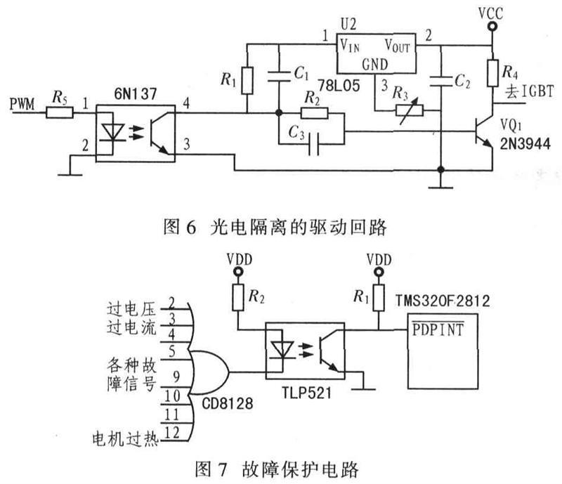 该隔离电路可实现对dsp的6路pwm输出信号与igbt的光电隔离,并实现驱动