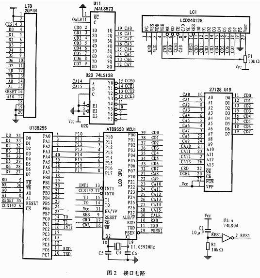 lcd240128a模块与at89s58单片机的接口电路如图2所示