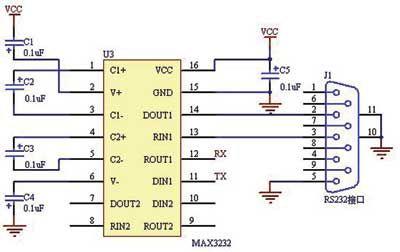 该电路把单片机串口输出信号隔离变换成 rs-232信号发送到汽车总线上