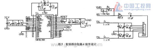 3 软件设计   软件的总体结构如图6所示。采用UBoot软件来开发系统的Bootloader,进行硬件初始化和引导操作系统。STR710FZ2T6运行的所有软件模块都是基于p~CLinux操作系统的。用户接口模块包括2部分,分别完成LCD显示和扫描键盘输入的功能。编写USB设备驱动和射频芯片驱动,分别完成控制无线网卡与管理服务器通信和射频数据传输。