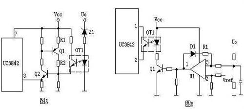 输出限压保护电路如下图,当输出电压升高,稳压管导通光耦导通,q1