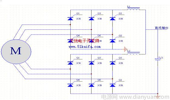 两个三相绕组分别经过三相全桥整流后经平波电抗器并联在一起,形成12