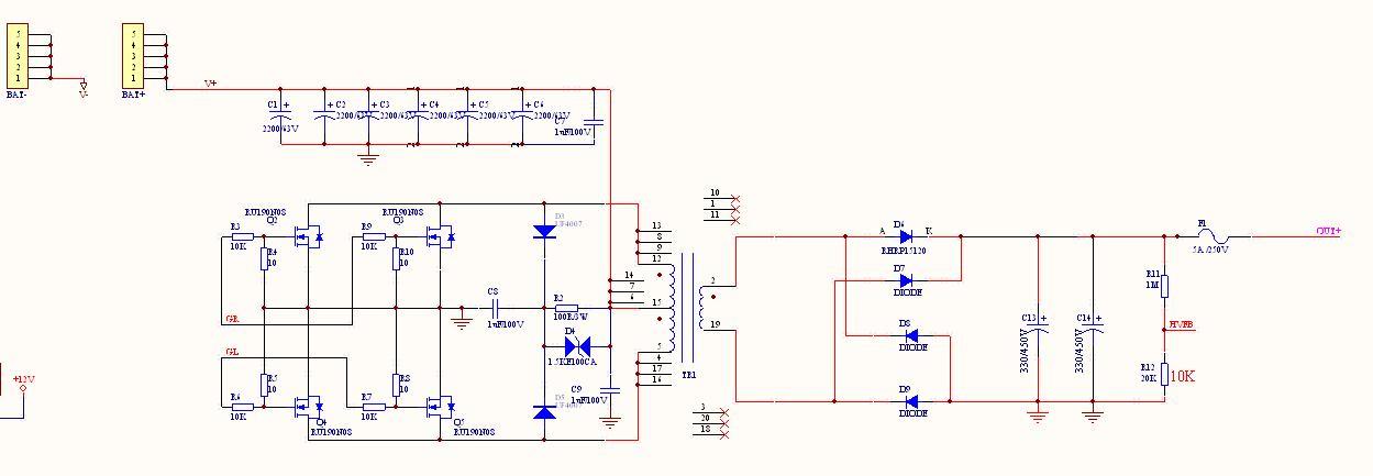首页 技术资料 电源技术 >> 1200w正弦波逆变器图解分析    该电路图