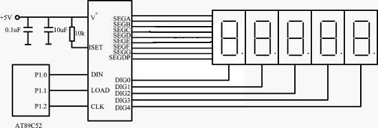 图1 max7219与at89c52单片机硬件接口电路