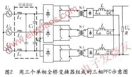 三相pfc示意图图3所示buck型电路的结构比较简单,同全桥电路相似