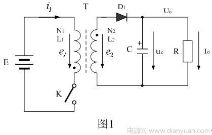 从图2可以看出,流过开关变压器的电流只有励磁电流,即:开关变压器铁