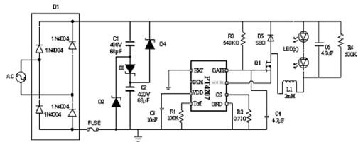 图5:led日光灯驱动芯片pt4207典型应用线路
