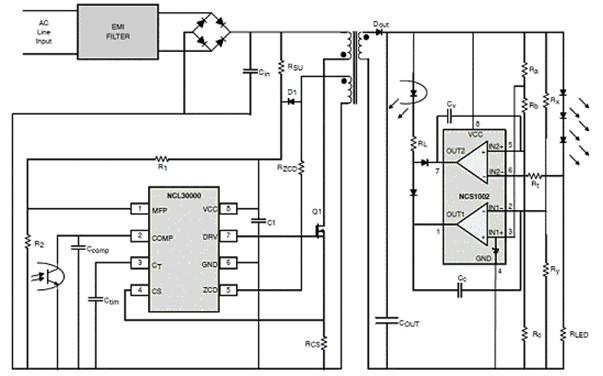 ncl30000采用紧凑型的8引脚表面贴装封装,使用临界导电模式反激架构