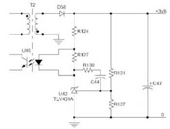 图1. 输出分压电路产生误差比较器信号,用于隔离图3所示开关电源.