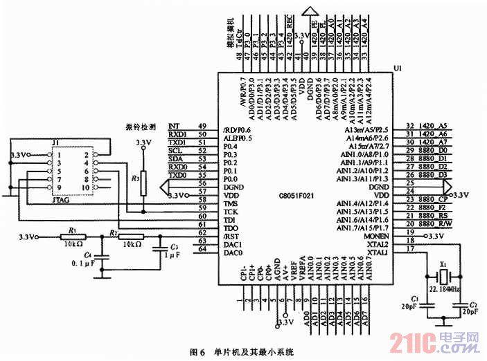 除了上述的cpu和pstn通讯部分电路外,本系统还有电源电路,信号调理