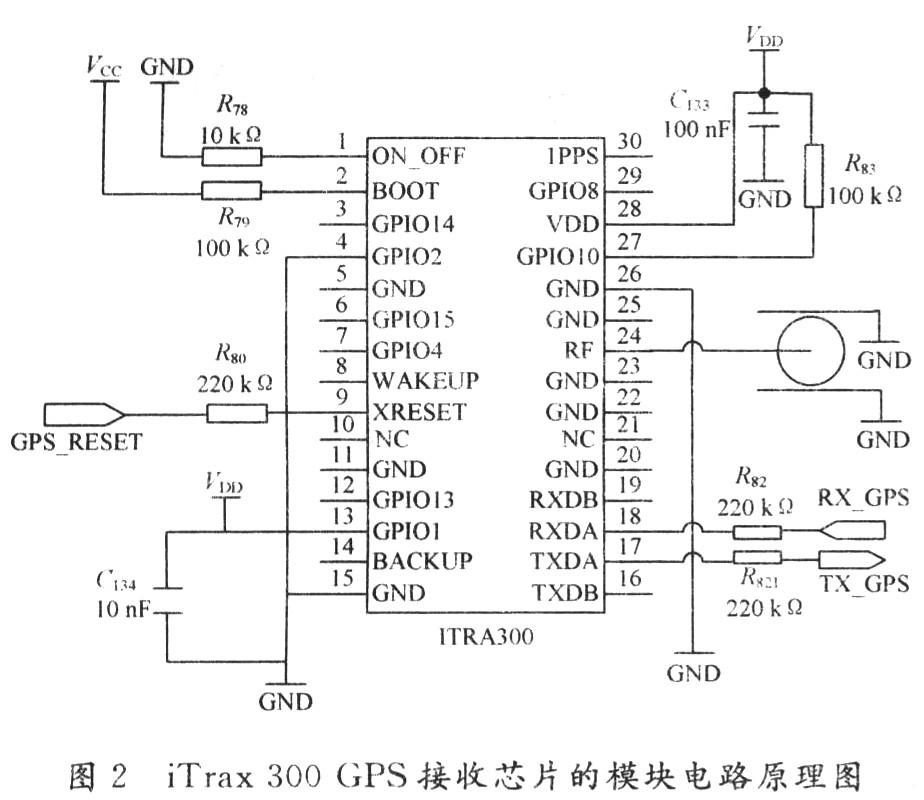 模块与s3c2440a接口电路如图2所示.其中,rx_gps,rx_gps接入uart端.