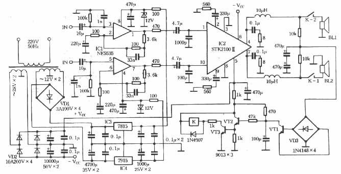 ic1为发烧级低噪声,高转换率运算放大器ne5535,ne5535输出电路为pnp