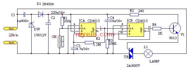 边沿D 触发器,电平触发的主从触发器工作时,必须在正跳沿前加入输入信号。如果在CP 高电平期间输入端出现干扰信号,那么就有可能使触发器的状态出错。而边沿触发器允许在CP触发沿来到前一瞬间加入输入信号。这样,输入端受干扰的时间大大缩短,受干扰的可能性就降低了。边沿D触发器也称为维持-阻塞边沿D触发器。   卫生间是每天必去的地方,晚上进卫生间要开灯、关灯,有时忘了关灯,还浪费了电能。这里介绍一种门控开关的电路,制作简单,家庭卫生间安装此门控开关后,开门卫生间灯亮进去后关上门灯仍然亮;开门出卫生间灯灭,再