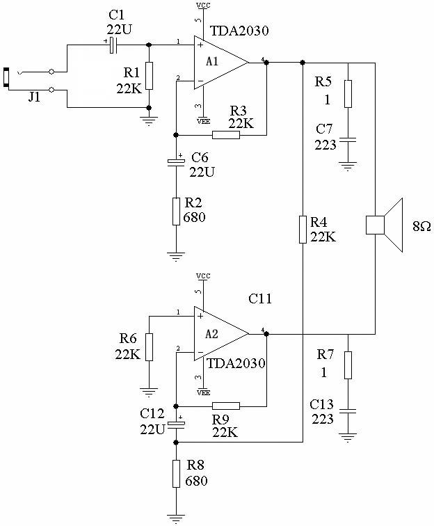 tda2030 tda2030a组成的btl中低音功放电路音频电路 电路图高清图片