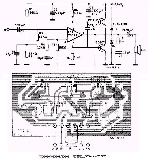 下图为用tda2030功放集成块和bd907/908制作的40w功放电路