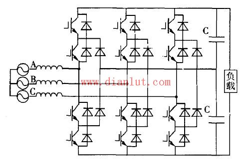 """三电平PWM (脉冲宽度调制(PWM),是英文Pulse Width Modulation的缩写,简称脉宽调制,是利用微处理器的数字输出来对模拟电路进行控制的一种非常有效的技术,广泛应用在从测量、通信到功率控制与变换的许多领域中。)整流器(整流器(英文:rectifier)是把交流电转换成直流电的装置,可用于供电装置及侦测无线电信号等。整流器可以真空管,引燃管,固态矽半导体二极管,汞弧等制成。相反,一套把直流电转换成交流电的装置,则称为""""逆变器"""" ),应用开关频率较低的GTO时,这种电路较合适,"""
