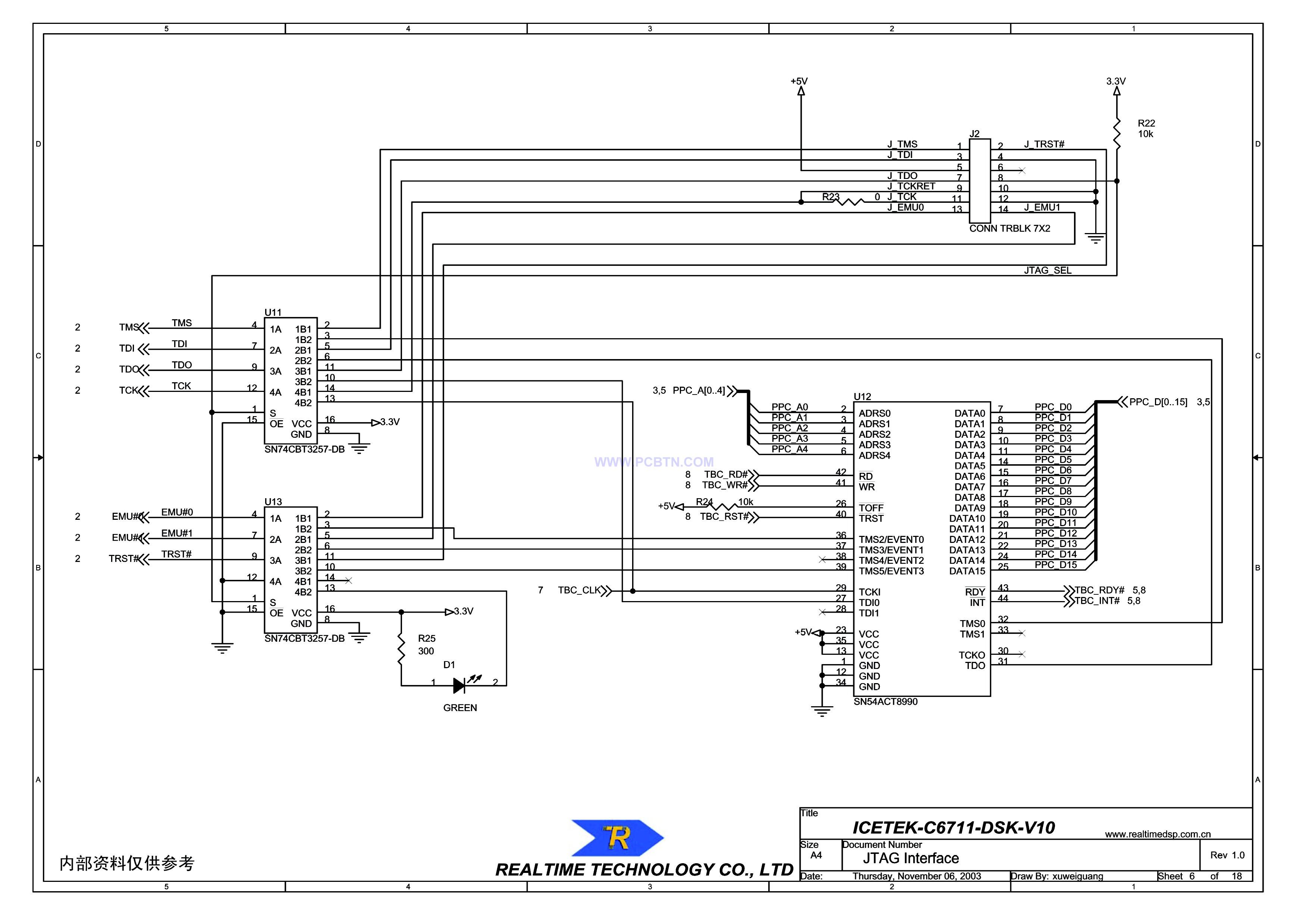 ICETEK-C6711-A的JTAG接口原理图