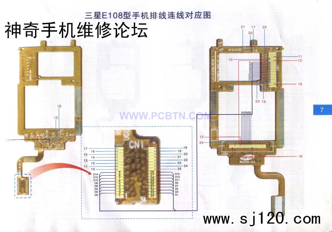 图】三星e108型手机排线连线对应电路图通信