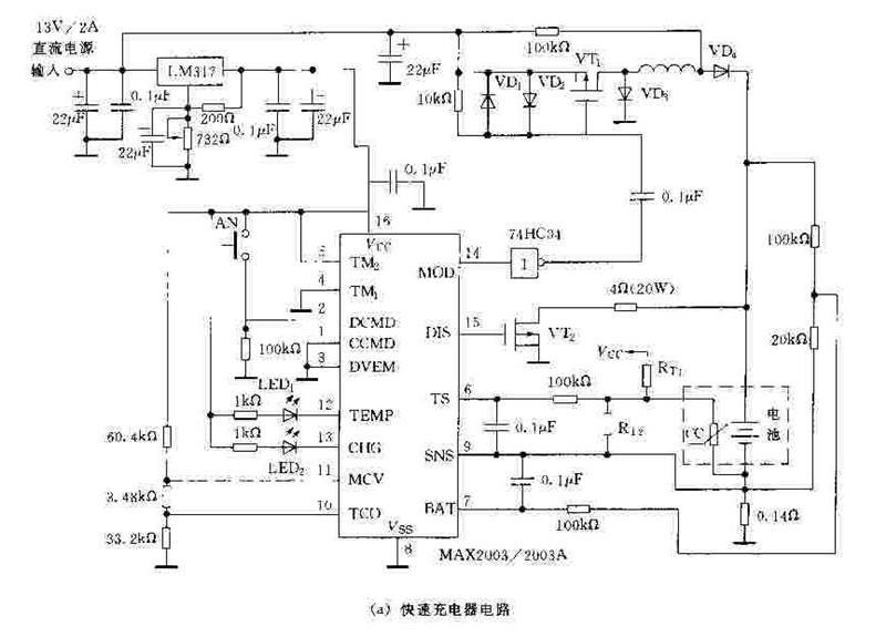 MAX2003A,MAX2003是美信公司生产的镍福、镍氢电池快速充电控制器,MAX2003A,MAX2003可实现快速充电,并且充电过程自动化,使用安全可靠、灵活方便。   (1)特性   MAX2003A, MAX2003的主要特性如下:   可对多节镍锡或镍氢电池进行快速充电,充电速率可编程控制;   提供脉冲开关和线性恒流两种充电模式;   具有温度斜率、最高电压、一AV、最长时间和最高温度5种快充终止方式,可避免电池过充;   提供补充充电和脉冲涓流充电功能,在快充结束后用补充方式继续对电池