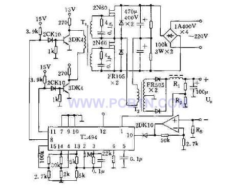基于tl494的半桥式双端式开关电源电源电路 电路图