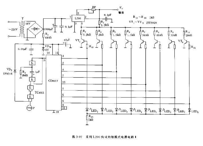 图3-97的触摸式电源的数控电路采用与非门tc4011和十进制计数器cd4017