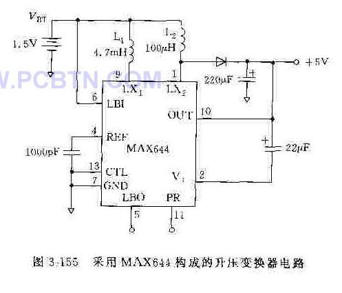 X644构成的升压变换器电路,它把1.5V电池电压升为5V输出电压.