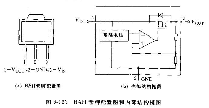 BAH系列是固定输出CMOS集成稳压器,BAH03输出电压为3.0V,BAH05为5V.主要特点是:输出最大电流为100MA,输出电压精度可达2.4%;静态电流典型值为16uA;压差低,BAH03输出30MA时压差为140MV,BAH05输出40MA时为120MV.图3-121是BAH管脚配置图和内部结构框图,主要由基准电压源,误差放大器,MOSFET调整管、确定输出电压的电阻分压管等组成。   BAH系列的最大输入电压为18V,功耗为500MW.