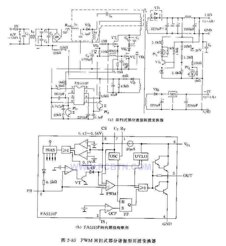 PWM回扫式部分谐振回授变换器电路