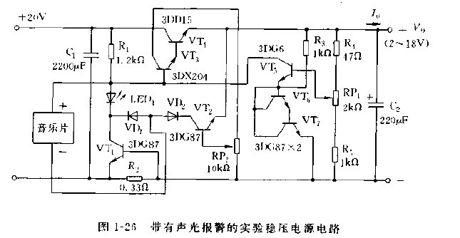 图1-25是设有限流电路的稳压电源电路。为降低纹波,减小对于负载变动时功率晶体管的负载,电路中采用扼流圈输入滤波器,扼流圈滤波器所需要的电感量可根据L=RLmax/6f求得,式中,RLmax为最大负载电阻。从降低纹波看,要使用0.1H电感量的线圈,但作为扼流圈输入滤波器,有60mH的电感量也就足够。本稳压电源的技术指标为:负载稳定度为1%以下,电压稳定度为1%以下,长期稳定度为1.