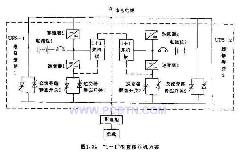 直接并机型冗余式UPS供电电路
