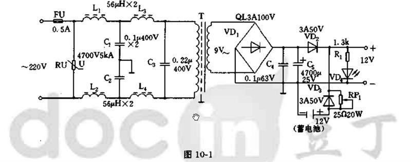 本12v电源的获取,是由交流220v经变压器t降压,其次级为9v交流电压.