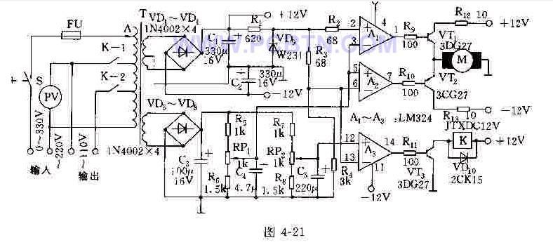 连续调节的全自动交流稳压器电路图及其工作原理