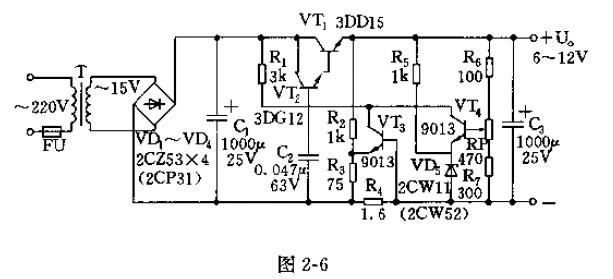 【图】6至12v直流稳压器电路图及其工作原理电源电路