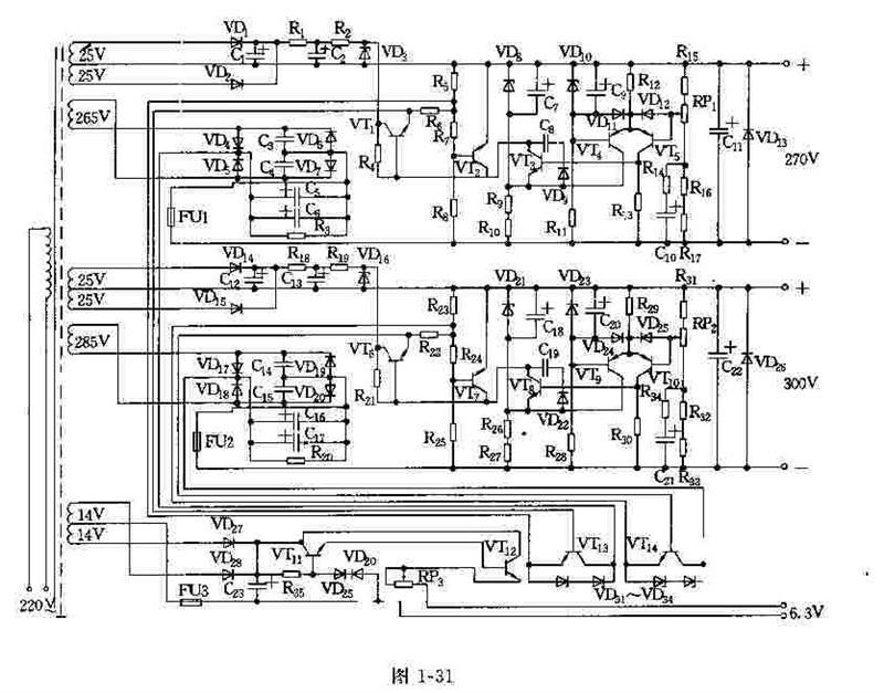 VD4~VD7为桥式整流,用C5,C6滤波。VT1和VT13组成两级串接复合三极管,作为调整环节。VT4,VT5为差动放大器,由输出取样电压与基准电压进行比较,产生一个误差信号,再经过VT3放大后去推动调整电路。R11和VD10提供一基准电压。R15,R16,R17和RP1组成取样电路,电位器RP1是用来调节输出电压大小,并使去取样后的分压与基准电压相匹配。R5,R7,R8和VT2组成保护电路,以防瞬时短路。辅助电源由VD1,VD2组成全波整流。C1,R1和C2组成RC滤波电路及R2,VD3组成的稳