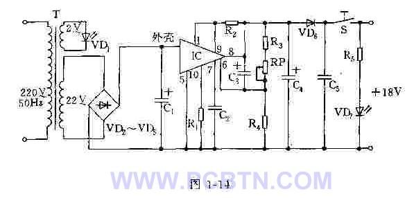 【图】 18v稳压电源电源电路 电路图 捷配电子市场网