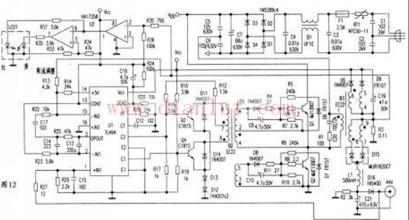 电流的增加,vce升高,于是q1退出饱和进入放大区,推动变压器b2的②-④