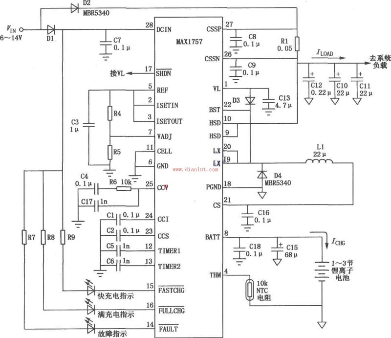 利用MAX1757设计的锂离子电池充电器电路