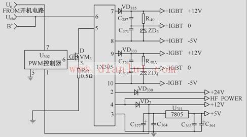 5v控制24v电路_由TX305组成的辅助电源电路-电源电路-维库电子市场网