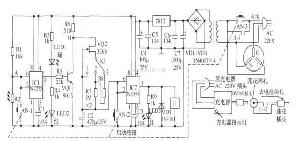 """这种充电器是用于电动自行车充电。它的特点是一旦充满电量就立即停止。   将充电器AC220V三线插头插入该装置的交流电源插座中,36V插头插入该装置的莲花插孔中,再将该装置的AC220V三线插头接入市电(以上部分插好后无需再动)。充电时,把该装置""""去电池插孔""""的莲花插头插入电动自行车电池充电插孔中即可。按下启动按钮AN,AN-1、AN-2、AN-3接通,充电器与AC220V电源接通;由于AN-2接通,IC2的2、6脚接地,3脚输出高电平,继电器J1吸合,J1-1闭合自锁,使 AC220V电压保持,"""