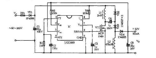 基于电源控制器ucc3889的稳压电源电路