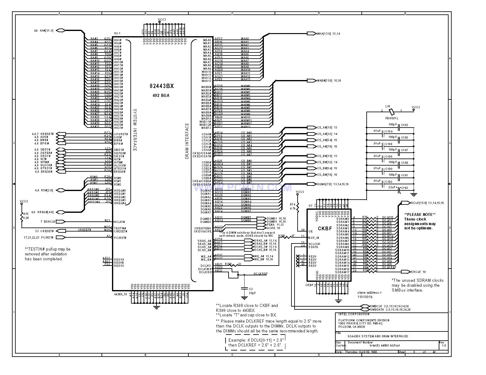 电脑主板 440bx[_]08型芯片组电路图