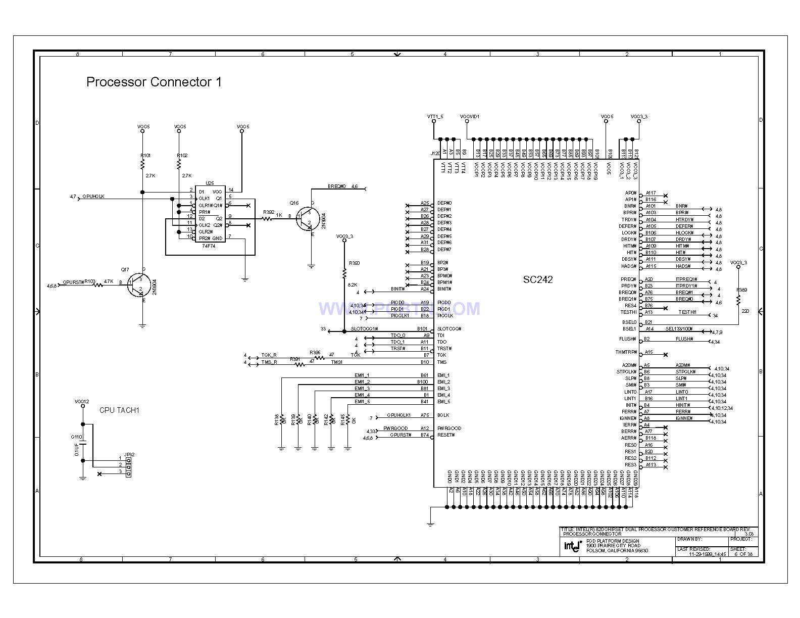 Intel 820e主板处理器连接器电路图