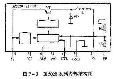 BP5020系列内部结构及降压式DC-DC变换器电路图