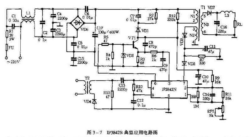 如图3-7所示,该电路具有保护作用。如果因为某种原因而过流,开关管VT1的集电极电流将有较大的增加,R3电压上升,IP3842的3脚电压升高,当3脚电压超过1V即电流超出1.47A时,IP3842的PWM比较器输出高电平,使PWM锁存器复位,关闭输出,IP3842N的6脚无输出,使开关管VT1截止,从而保护了电路。如果电网发生过压情况,市电在260V以上,IP3842N无法调节导通比,变压器输出绕组电压要大大增加,IP3842N的VCC增加,2脚电压上升,关闭输出。如果电网繁盛欠压情况,IP3842