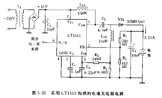 采用LT1513构成的电池充电器电路图