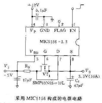 利用mic5156或mic5158构成的电源电路
