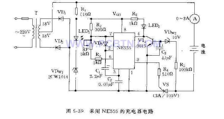 采用NE555构成的电池充电器电路