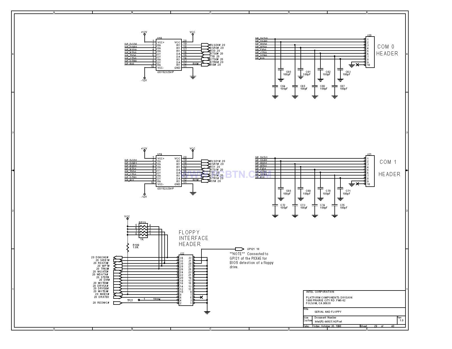 Intel 440GX 主板serial端口和软驱电路图